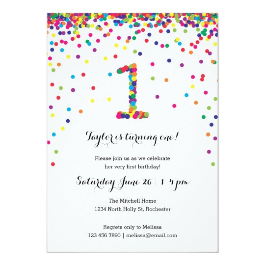 Colorful confetti 1st birthday party invitations zazzle colorful confetti 1st birthday party invitations filmwisefo