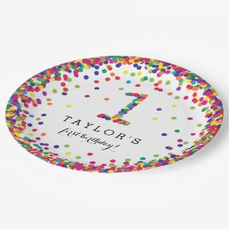 Colorful Confetti 1st Birthday Party Plates