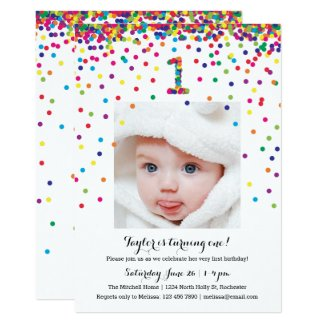 Colorful Confetti 1st Birthday Photo Invitations