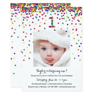 Colorful Confetti 1st Birthday Photo Invitations