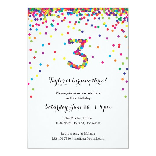 Colorful Confetti 3rd Birthday Party Invitations Zazzlecom