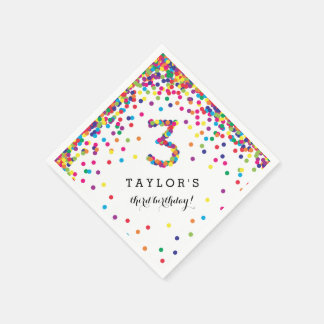 Colorful Confetti 3rd Birthday Party Napkins