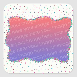 Colorful Confetti Add Photo Birthday Stickers