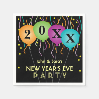 Colorful Confetti & Balloons, New Years Eve Party Napkin