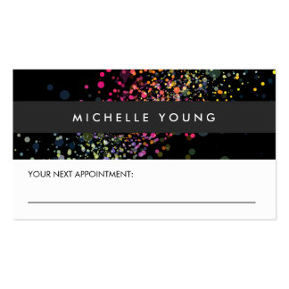 Colorful Confetti Bokeh on Black Appointment Business Card