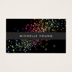 Colorful Confetti Bokeh On Black Modern Business Card at Zazzle