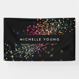 Colorful Confetti Bokeh on Black Modern II Banner