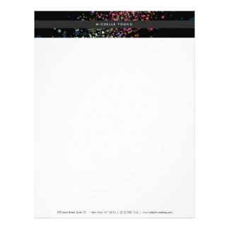 Colorful Confetti Bokeh on Black Modern Letterhead