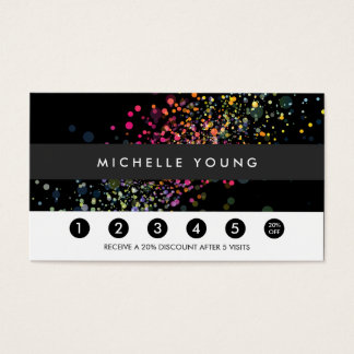 Colorful Confetti Bokeh on Black Modern Loyalty Business Card