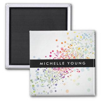 Colorful Confetti Bokeh on Gray Modern 2 Inch Square Magnet