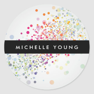 Colorful Confetti Bokeh on Gray Modern Classic Round Sticker