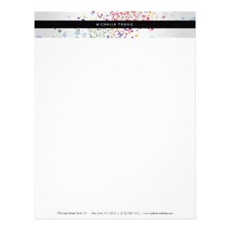 Colorful Confetti Bokeh on Gray Modern Letterhead