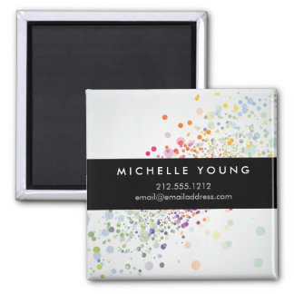 Colorful Confetti Bokeh on Gray Modern Magnet