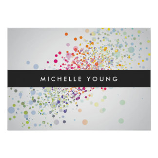 Colorful Confetti Bokeh on Gray Modern Poster