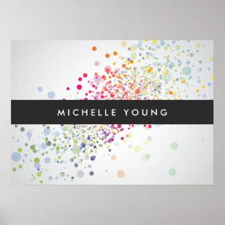 Colorful Confetti Bokeh on Gray Modern Poster