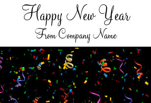 colorful confetti business new year cards