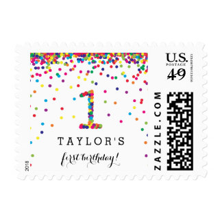 Colorful Confetti Custom 1st Birthday Party Stamps
