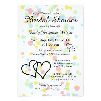 Colorful confetti dots bridal shower invitations