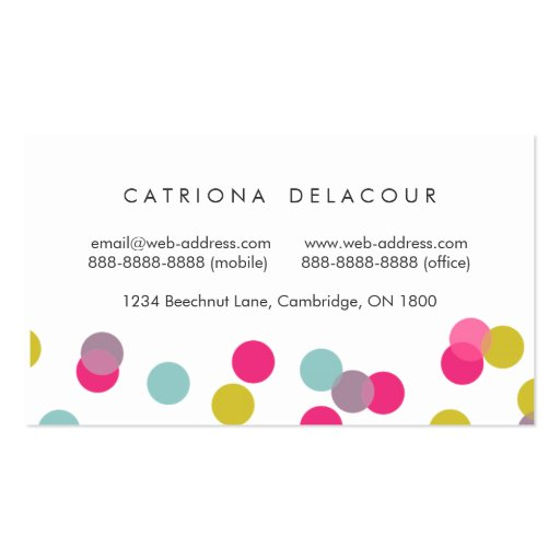 Colorful Confetti Dots Modern Business Card (back side)