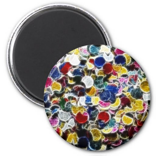 Colorful Confetti Fractal Abstract Fridge Magnets