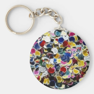Colorful Confetti Fractal Abstract Basic Round Button Keychain