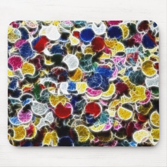 Colorful Confetti Fractal Abstract Mouse Pad