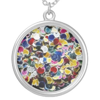 Colorful Confetti Fractal Abstract Round Pendant Necklace