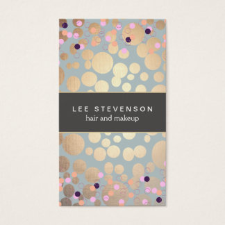 Colorful Confetti & Gold Circles Look Beauty Salon Business Card
