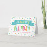 """Colorful Confetti Granddaughter Birthday Card<br><div class=""""desc"""">Birthday card for granddaughter with with colorful confetti,  hand lettered style retro text and vintage banner in bright blue,  orange,  yellow,  green and hot pink.</div>"""