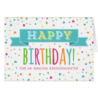 Colorful Confetti Granddaughter Birthday Card