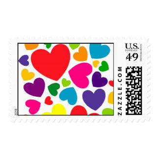Colorful Confetti Hearts Postage