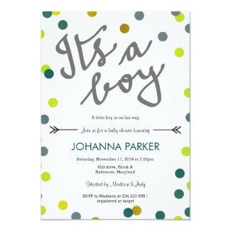 Colorful Confetti Its A Boy Baby Shower Modern Card