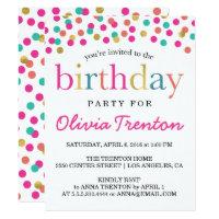 Kids invitations announcements zazzle colorful confetti kids birthday party invitations filmwisefo
