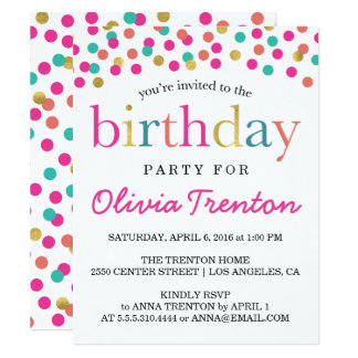 Colorful Confetti Kids Birthday Party Invitations
