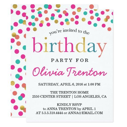 colorful confetti kids birthday party invitations zazzle com