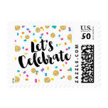 Colorful Confetti Let&#39;s Celebrate Postage<br><div class='desc'>Colorful Confetti Let&#39;s Celebrate Postage. Perfect for any Party Celebration; Weddings,  Graduations,  Proms,  Bar Mitzvah,  Superbowl parties,  Festivals and many more events.</div>