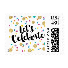 Colorful Confetti Let's Celebrate Postage at Zazzle