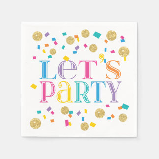 Colorful Confetti Let's Party Standard Cocktail Napkin
