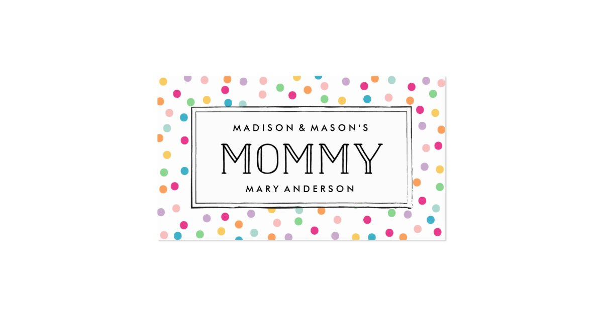 Colorful confetti mommy business cards zazzle for Mommy business cards