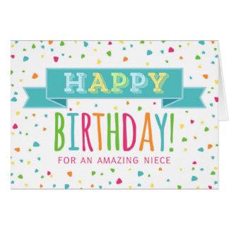 Colorful Confetti Niece Birthday Card