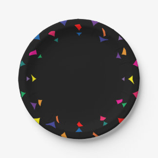 Colorful Confetti or Shards of Color Edging Paper Plate