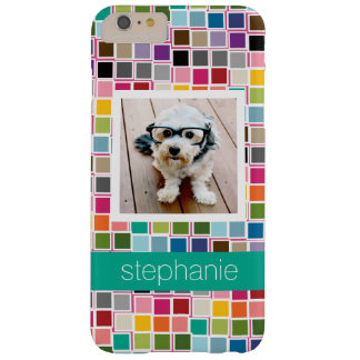 Colorful Confetti Pink Lime Green Custom Name Barely There iPhone 6 Plus Case