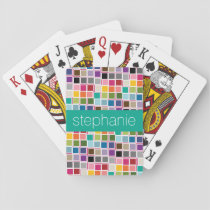 Colorful Confetti Pink Lime Green Custom Name Playing Cards
