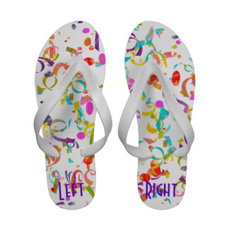 Colorful Confetti Toss Background Over White Sandals
