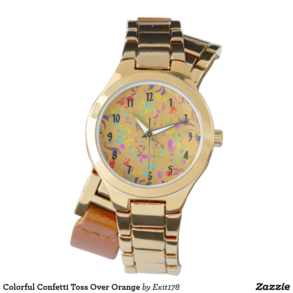 Colorful Confetti Toss Over Orange Wrist Watch