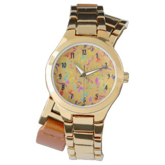 Colorful Confetti Toss Over Orange Wrist Watch