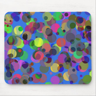 Colorful confettis over blue mouse pad