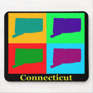 Colorful Connecticut State Pop Art Map Mouse Pad
