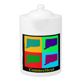 Colorful Connecticut State Pop Art Map Teapot
