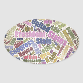 Colorful Constitution Text Graphic Oval Sticker